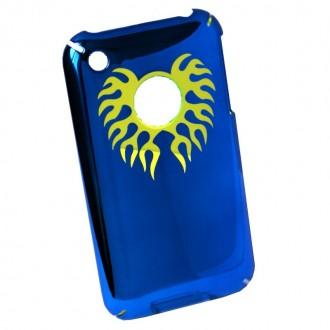 Coque iPhone 3G / 3GS Bleu effet miroir logo apparent