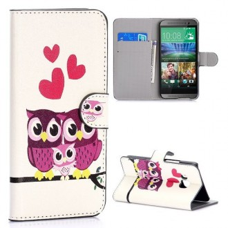 Etui HTC One M9 motif Couple de Chouette