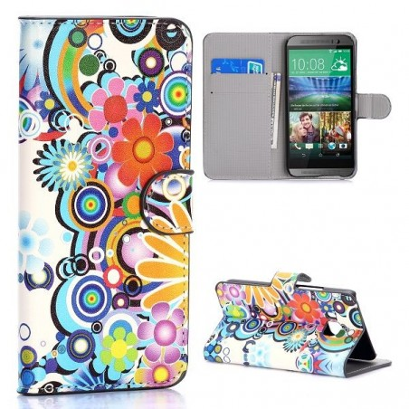 Etui HTC One M9 motif Fleurs Multicouleur