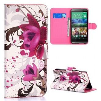 Etui HTC One M9 motif Fleurs de Lotus violette