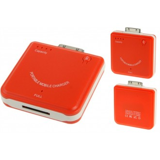 Chargeur portable rouge pour iPhone4 / iPod / Mp3 / Mp4