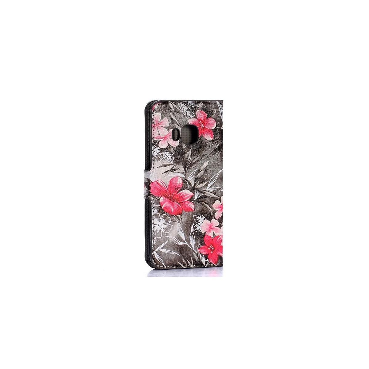 Etui HTC One M9 motif Fleurs rouges et blanches