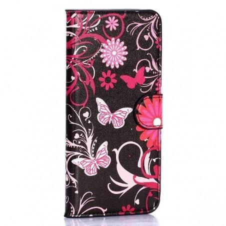 Etui HTC One M9 motif  Papillons et fleurs