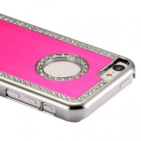 Coque iPhone 5C aluminium brossé rose et Strass
