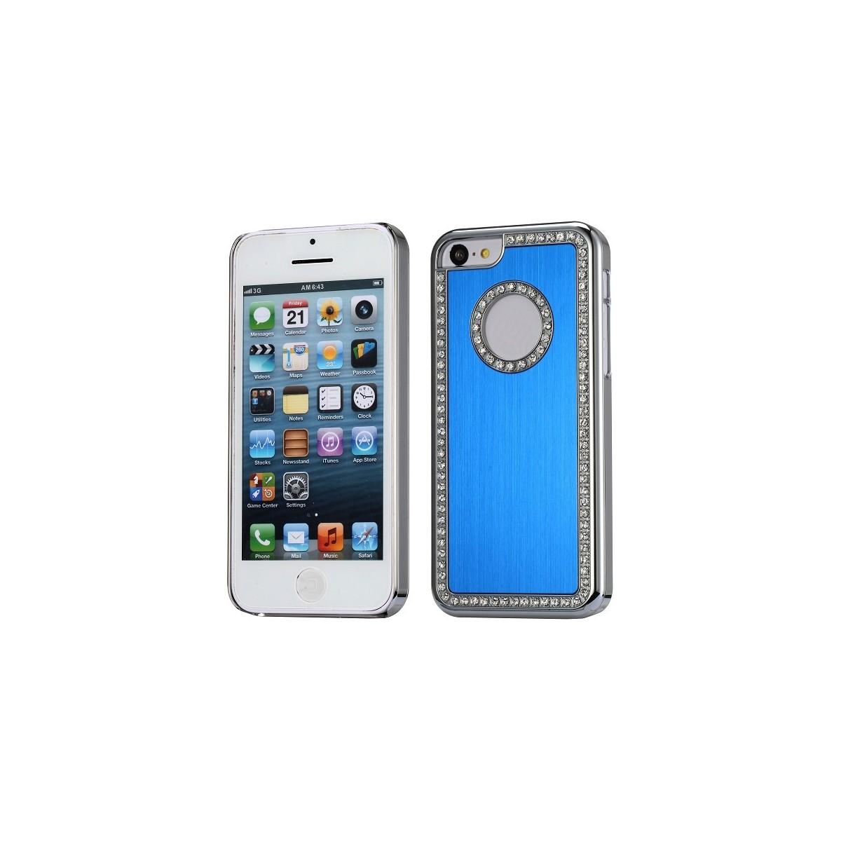 Coque iPhone 5C aluminium brossé bleu nuit et Strass