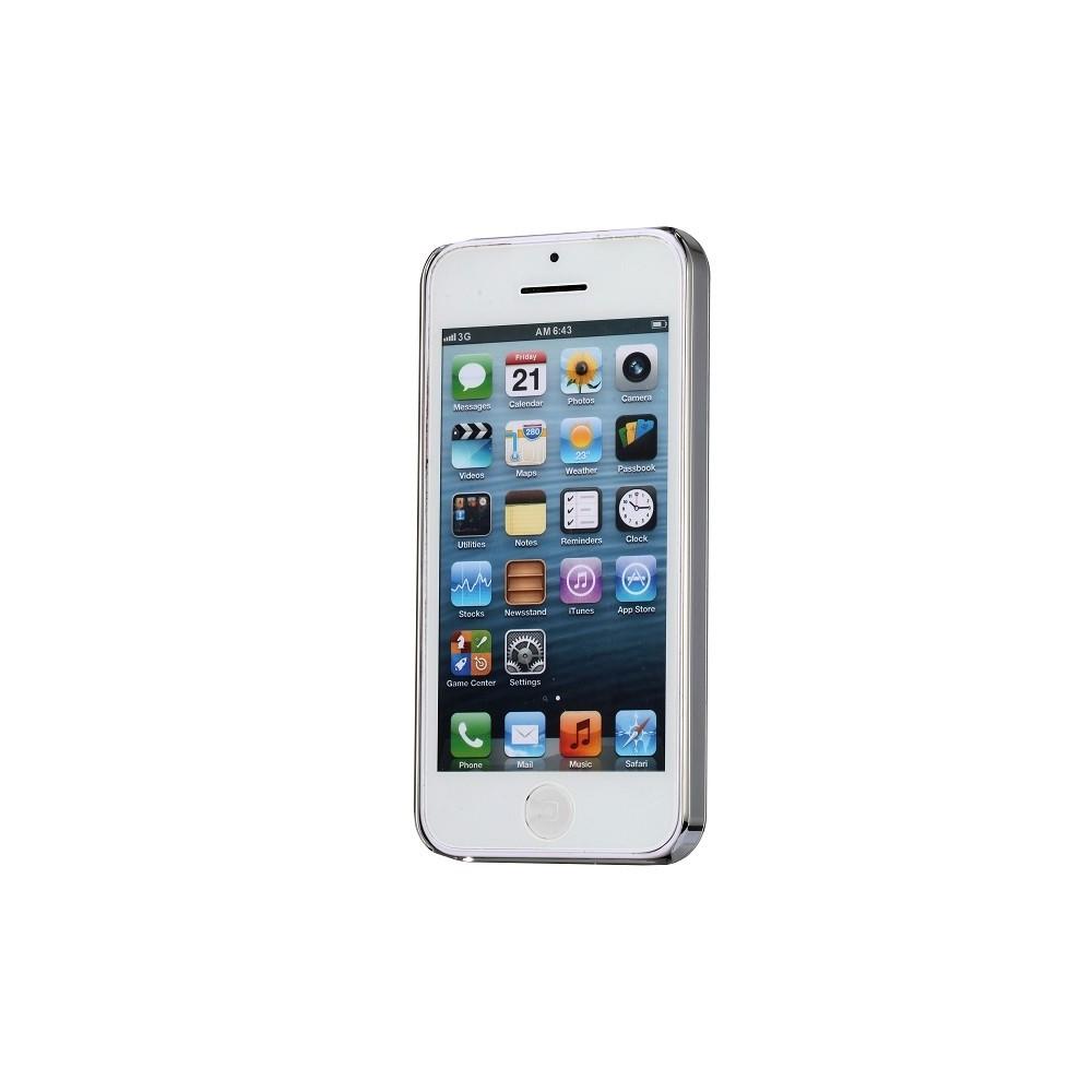 Coque iPhone 5C aluminium brossé noire et Strass