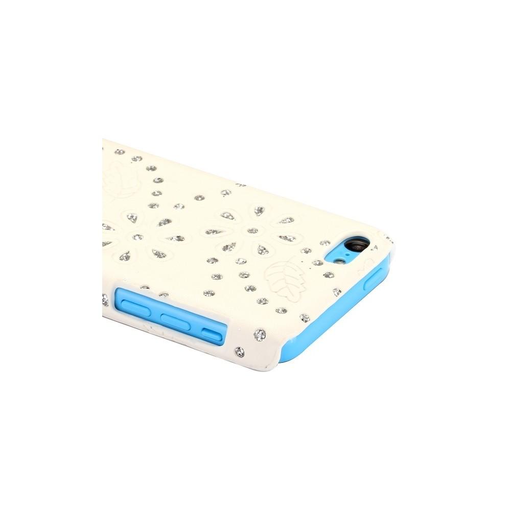 Coque iPhone 5C Simili-cuir blanc et Strass