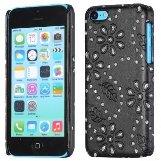 Coque iPhone 5C Simili-cuir noire et Strass
