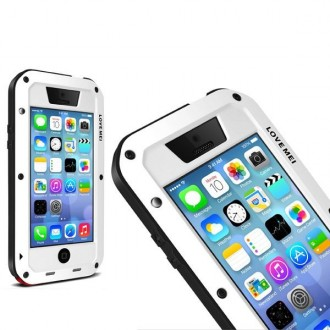 Coque iPhone 5C Etanche Antichocs Aluminium Blanche - LOVE MEI