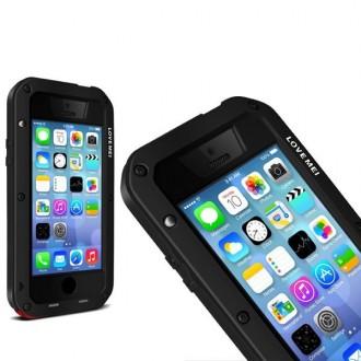 Coque iPhone 5C Etanche Antichocs Aluminium Noire - LOVE MEI