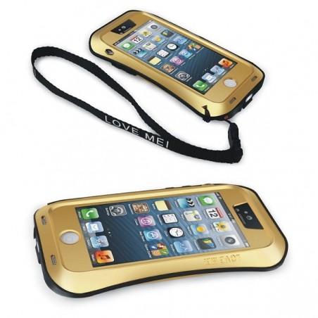 Coque iPhone 5 / 5S Etanche Antichocs Aluminium Noire - LOVE MEI