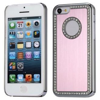 Crazy Kase - Coque iPhone 5C aluminium brossé rose clair et Strass