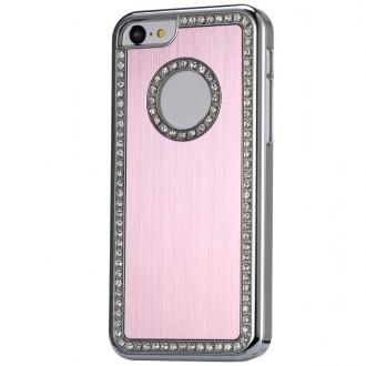 Coque iPhone 5C aluminium brossé rose clair et Strass