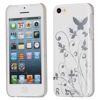 Coque iPhone 5C motif papillons et fleurs fond blanc