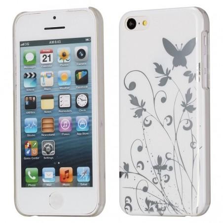 Coque plastique motif papillons et fleurs fond blanc pour Apple iPhone 5C