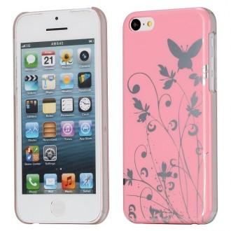 Coque iPhone 5C motif papillons et fleurs fond rose