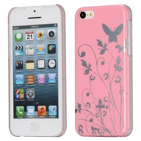 Coque plastique motif papillons et fleurs fond rose pour Apple iPhone 5C