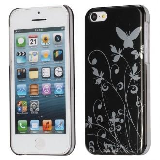 Coque iPhone 5C motif papillons et fleurs fond noir