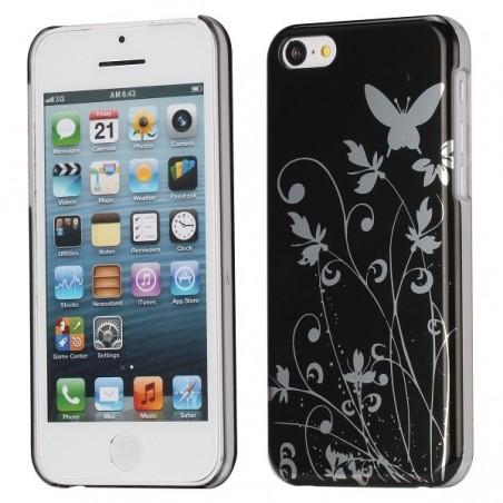 Coque plastique motif papillons et fleurs fond noir pour Apple iPhone 5C
