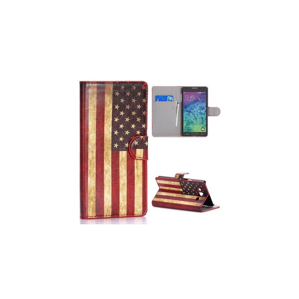 Crazy Kase - Etui Galaxy A7 Motif Drapeau USA Vintage