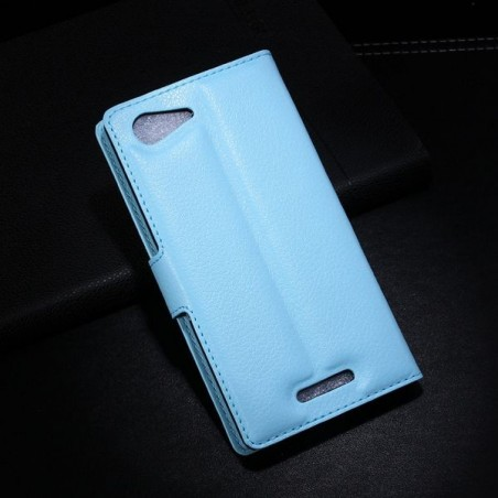 Crazy Kase - Etui Xperia E3 Simili-cuir Bleu