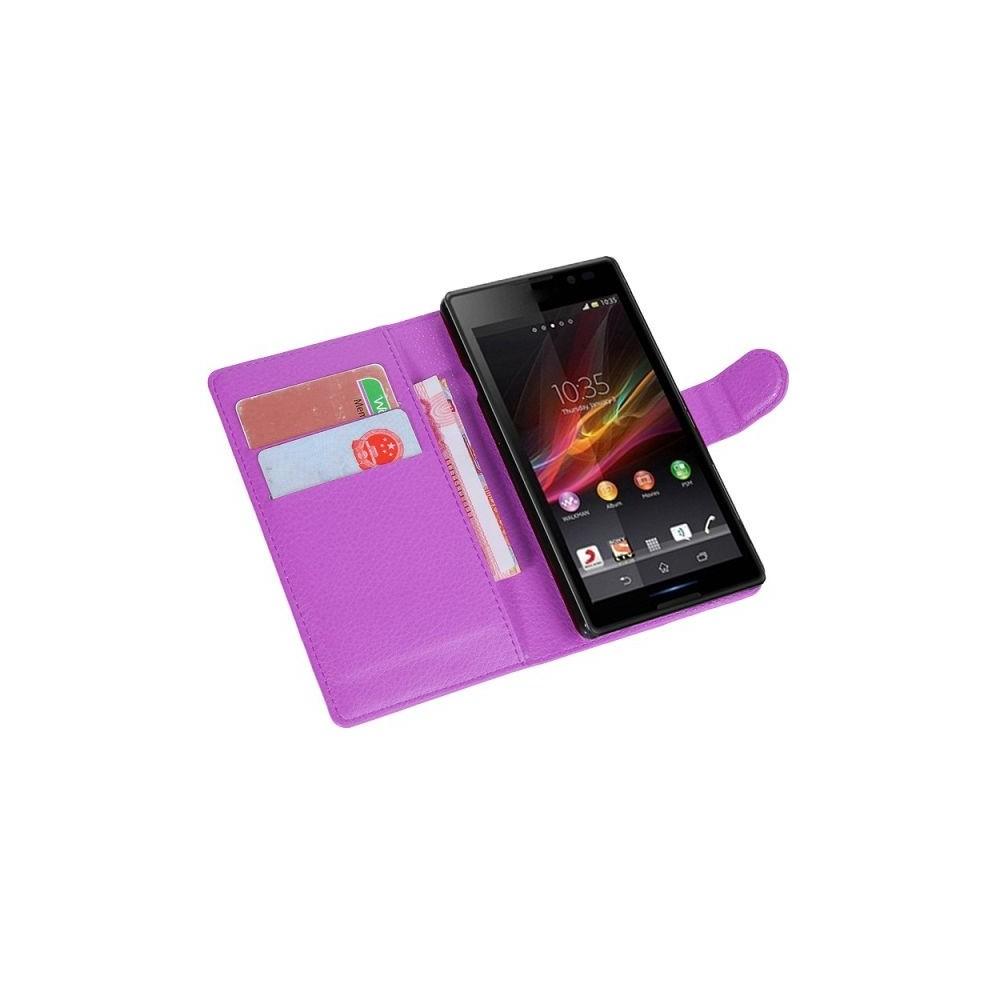 Crazy Kase - Etui Xperia E3 Simili-cuir Violet