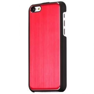 Crazy Kase - Coque iPhone 5C noire et Aluminium brossé rouge