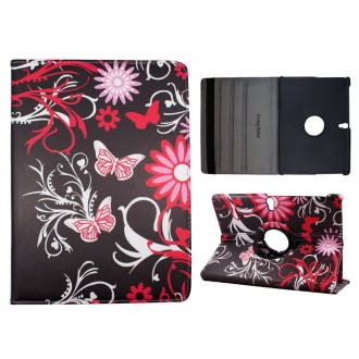 Crazy Kase - Etui Galaxy Tab S 10.5 Rotatif 360° Papillons et Fleurs