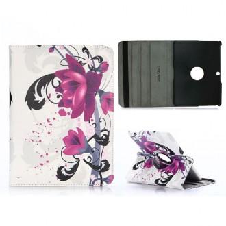 Etui Galaxy Tab 4 10.1 rotatif 360° Fleurs de Lotus Violettes