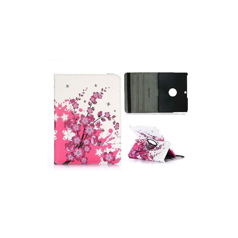Etui Galaxy Tab 4 rotatif 360° Fleurs Japonaise