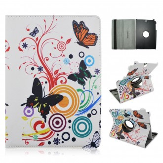 Etui Samsung Galaxy Tab A 9.7 Rotatif 360° motif Papillons et Cercles - Crazy Kase