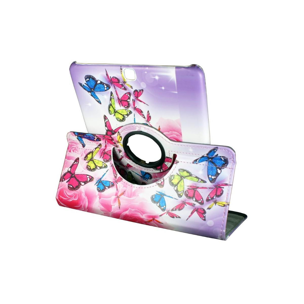 Crazy Kase - Etui Galaxy Tab S2 9.7 Rotatif 360° Motif Papillons Colorés
