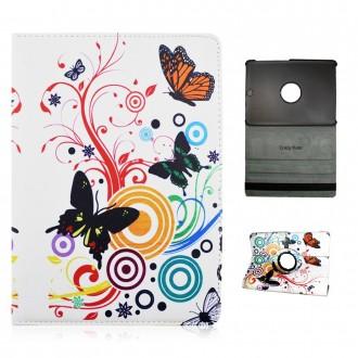 Crazy Kase - Etui Galaxy Tab S2 9.7 Rotatif 360° motif Papillons et Cercles