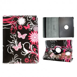 Crazy Kase - Etui Galaxy Tab S2 9.7 Rotatif 360° Motif Papillons et Fleurs