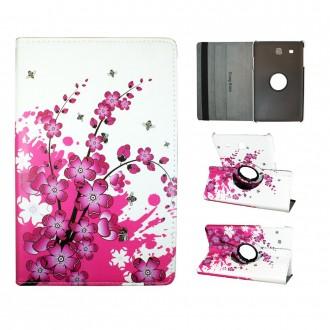 Etui Galaxy Tab E 9.6 Rotatif 360° motif Fleurs Japonaises - Crazy Kase