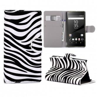 Crazy Kase - Etui Sony Xperia Z5 Compact Motif Zébré Noir et Blanc