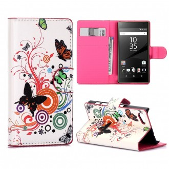 Crazy Kase - Etui Sony Xperia Z5 Compact Motif Papillons et Cercles
