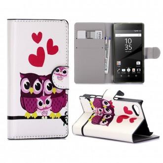 Crazy Kase - Etui Sony Xperia Z5 Compact Motif Couple de Chouette
