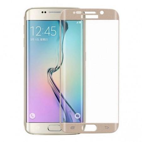 Film Galaxy S6 Edge protection écran verre trempé incurvé contour Doré