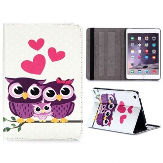Etui iPad Mini 1/2/3 motif Couple de Chouette - Crazy Kase