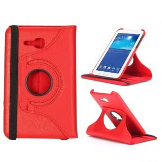 Crazy Kase - Etui Galaxy Tab 3 Lite 7.0 Rotatif 360° Rouge