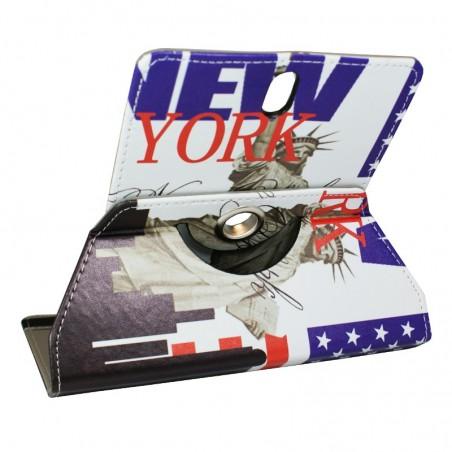 Crazy Kase - Etui tablette universel 7 pouces rotatif 360° Motifs Drapeau USA et Statue de la Liberté