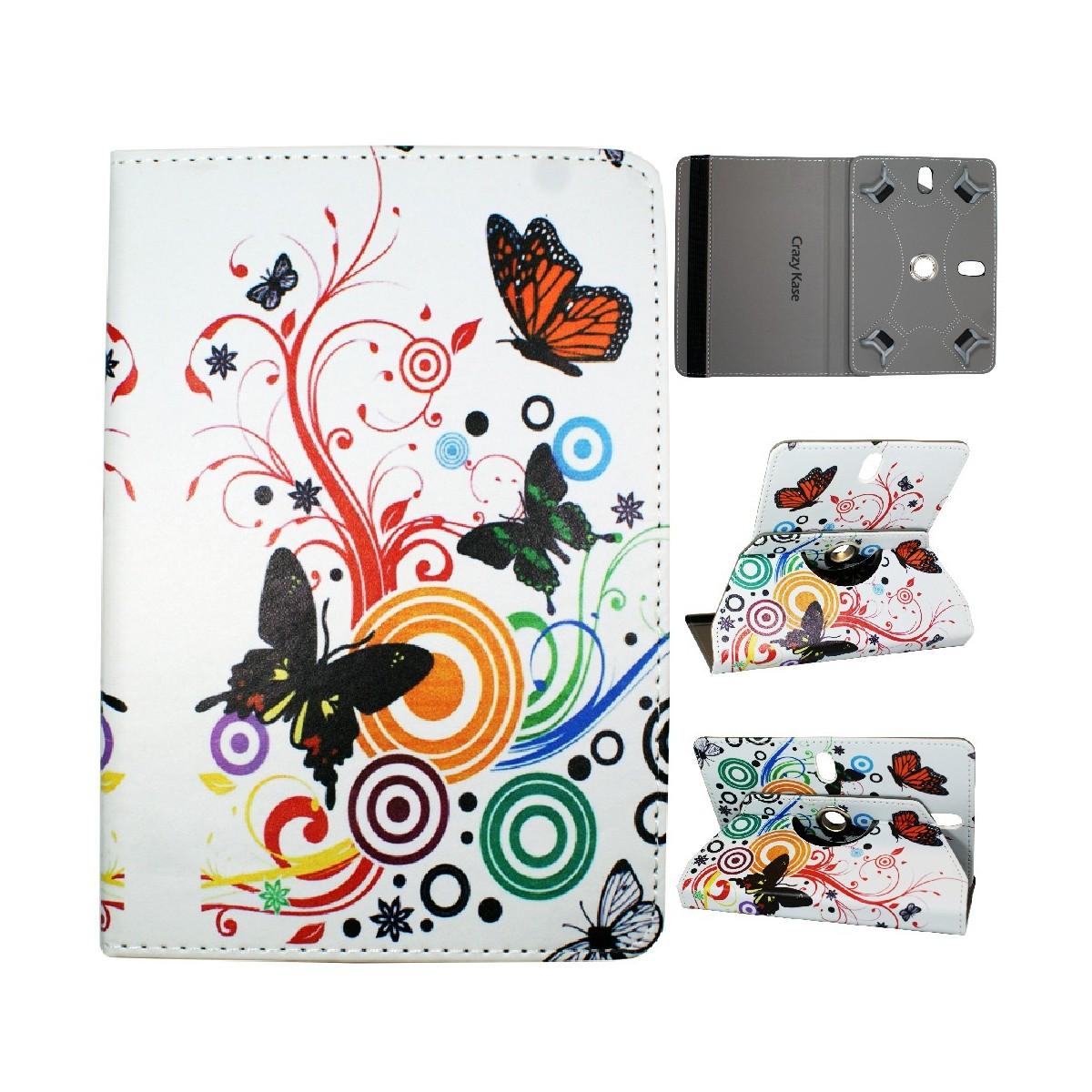 Crazy Kase - Etui tablette universel 7 pouces rotatif 360° Motifs Papillons et Cercles