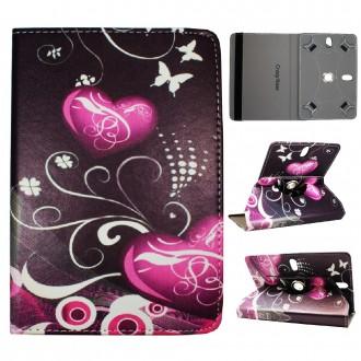 Crazy Kase - Etui tablette universel 7 pouces rotatif 360° Motifs Coeurs et Papillons