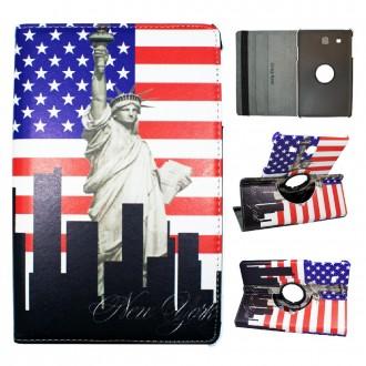 Etui Galaxy Tab E 9.6 Rotatif 360° motif Drapeau USA et Statue de la Liberté - Crazy Kase
