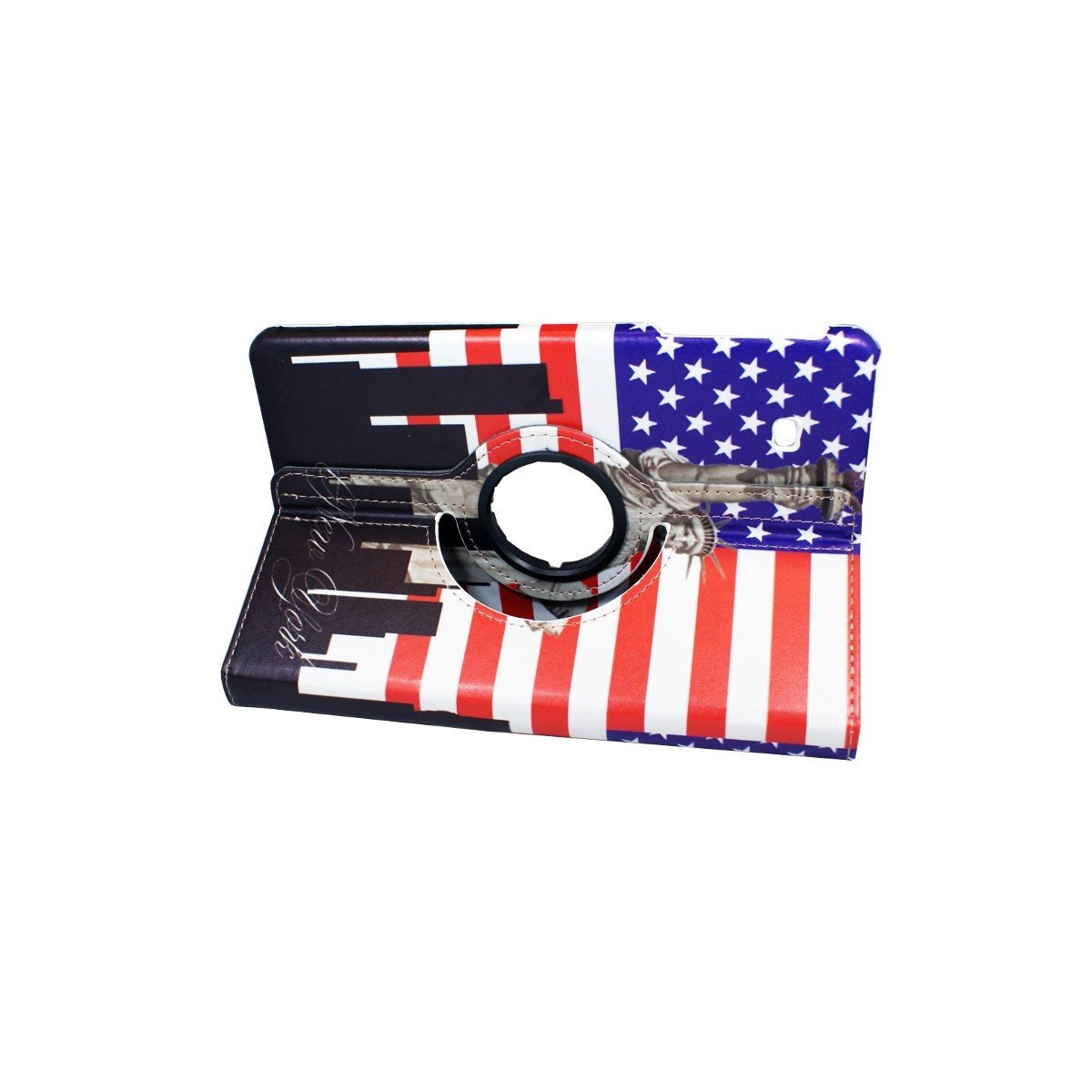 Crazy Kaze - Etui Galaxy Tab E 9.6 Rotatif 360° motif Drapeau USA et Statue de la Liberté