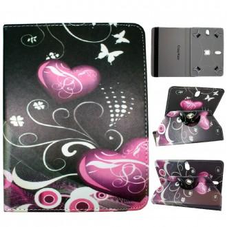 Crazy Kase - Etui tablette universel 8 pouces rotatif 360° Motif Coeurs et Papillons