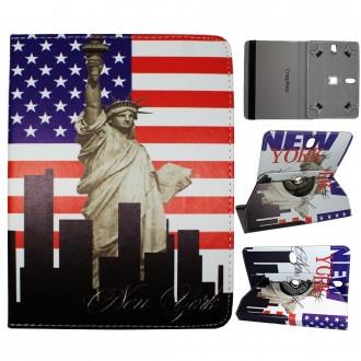 Crazy Kase - Etui tablette universel 8 pouces rotatif 360° Motifs Drapeau USA et Statue de la Liberté