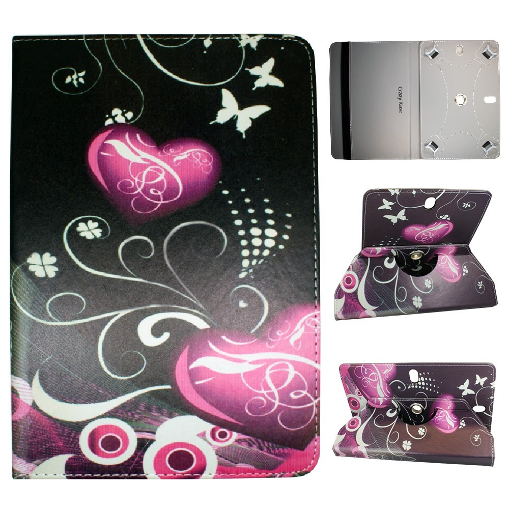 crazy kase etui tablette universel 10 pouces rotatif 360 motif c urs et. Black Bedroom Furniture Sets. Home Design Ideas