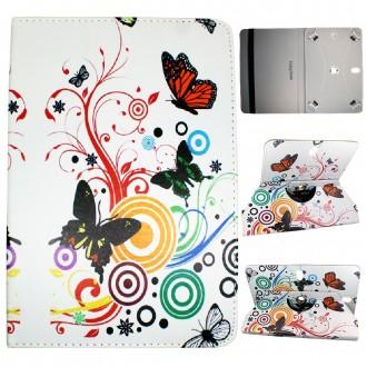 Crazy Kase - Etui tablette universel 10 pouces rotatif 360° Motifs Papillons et Cercles